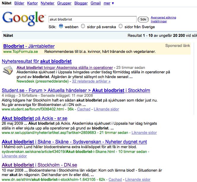 Universal search placerar Akademiska sjukhusets pressmeddelande i topp på Google webbsök