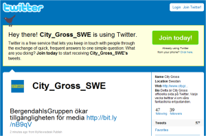 City Gross publicerar nyheter på Twitter med MyNewsdesk